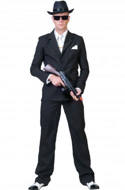 Costume uomo Gangster nero gessato righine bianche