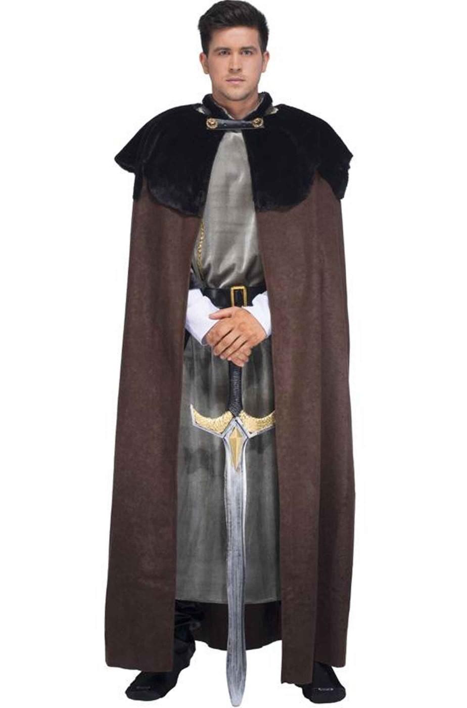 Mantello medievale vichingo barbaro nano marrone con pelo