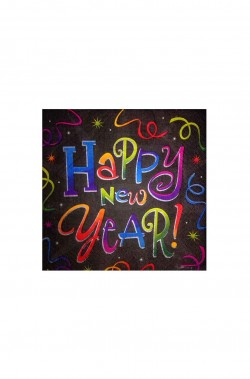 Happy New Year Black Capodanno Tovaglioli Party in carta neri 25x25cm 20pezzi