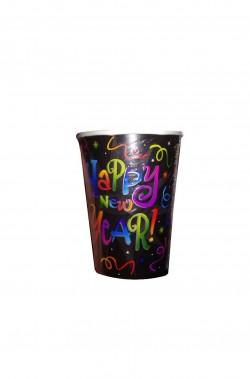 Happy New Year Black Capodanno bicchieri di carta confezione da 8, 266ml