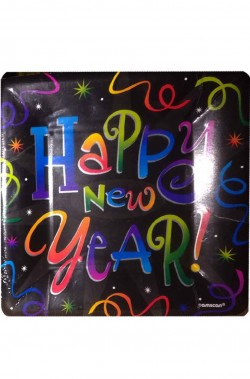 Happy New Year Black Capodanno piatti in carta neri 8pzx22cm
