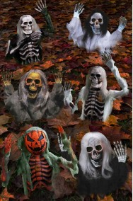 Pacchetto decorazioni Halloween da giardino: sei scheletri che escono dal terreno 53cm