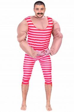 Costume uomo forzuto degli anni 20 a righe rosse