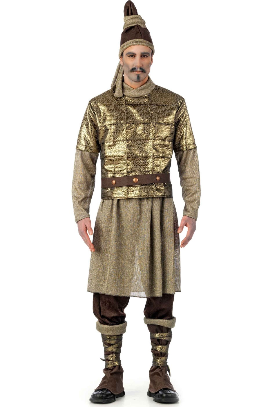 Costume uomo guerriero cinese esercito di terracotta. Qualita' teatrale.