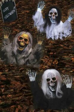 Pacchetto offerta decorazioni Halloween da giardino: tre scheletri che escono dal terreno 53cm
