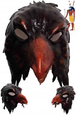 Maschera Dio Egizio Horus Falco in cuoio realizzata a mano