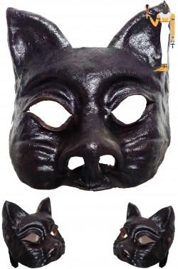 Maschera Dio Egizio Iside Gatto in cuoio realizzata a mano