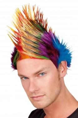 Parrucca punk con ciuffo cresta multicolore
