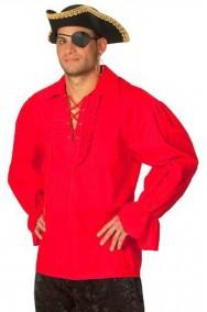 Camicia da pirata rossa adulto