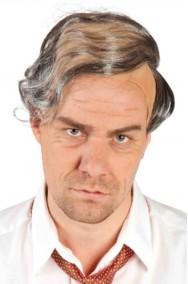 Parrucca uomo grigia corta vecchio professore con riporto