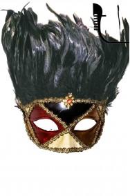 Maschera carnevale  lusso in stile veneziano con piume folte