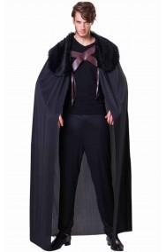 Mantello medievale nero vichingo barbaro nano con pelliccia