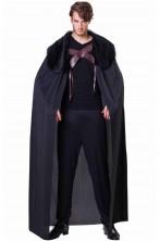 Mantello medievale vichingo barbaro nano nero con pelliccia