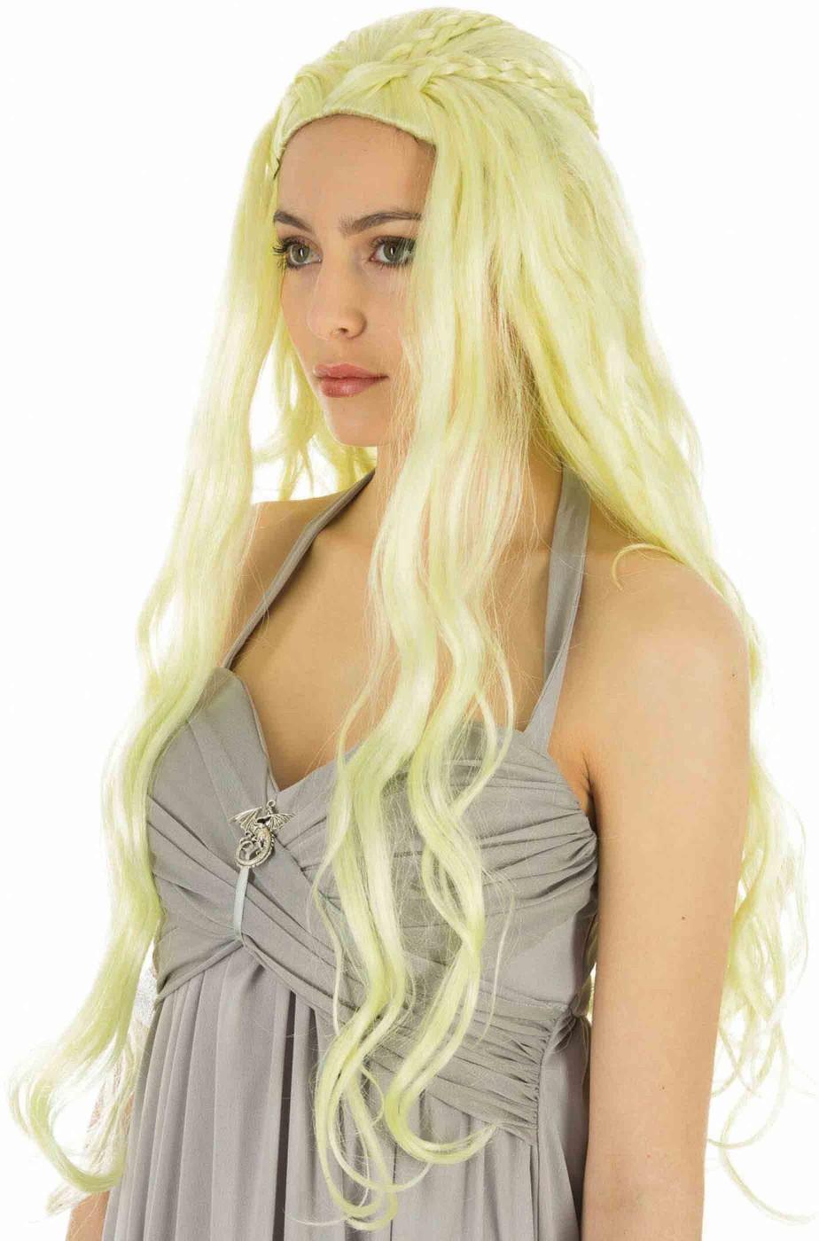 Parrucca bionda lunga mossa senza frangia di Khaleesi Madre dei Draghi