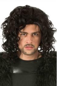 Parrucca uomo nera mossa senza frangia tipo Jon Snow