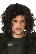 Parrucca uomo nera mossa senza frangia Jon Snow emo