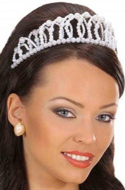 Corona di perle bianca