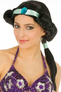 Parrucca donna lunga di Jasmine con coda nera