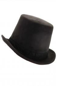 Cappello Cilindro Steampunk in ecopelle scamosciata Nero
