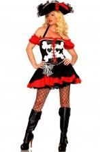 Costume donna piratessa pirata dei caraibi donna rosso e nero