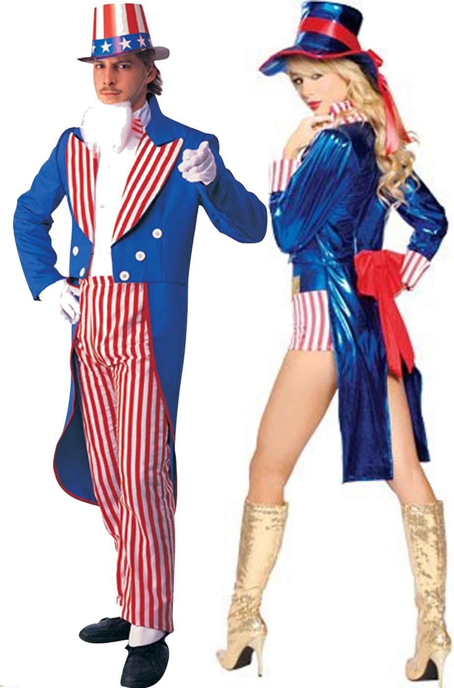 Coppia di vestiti di Carnevale adulti Zio Sam e Zia Sam