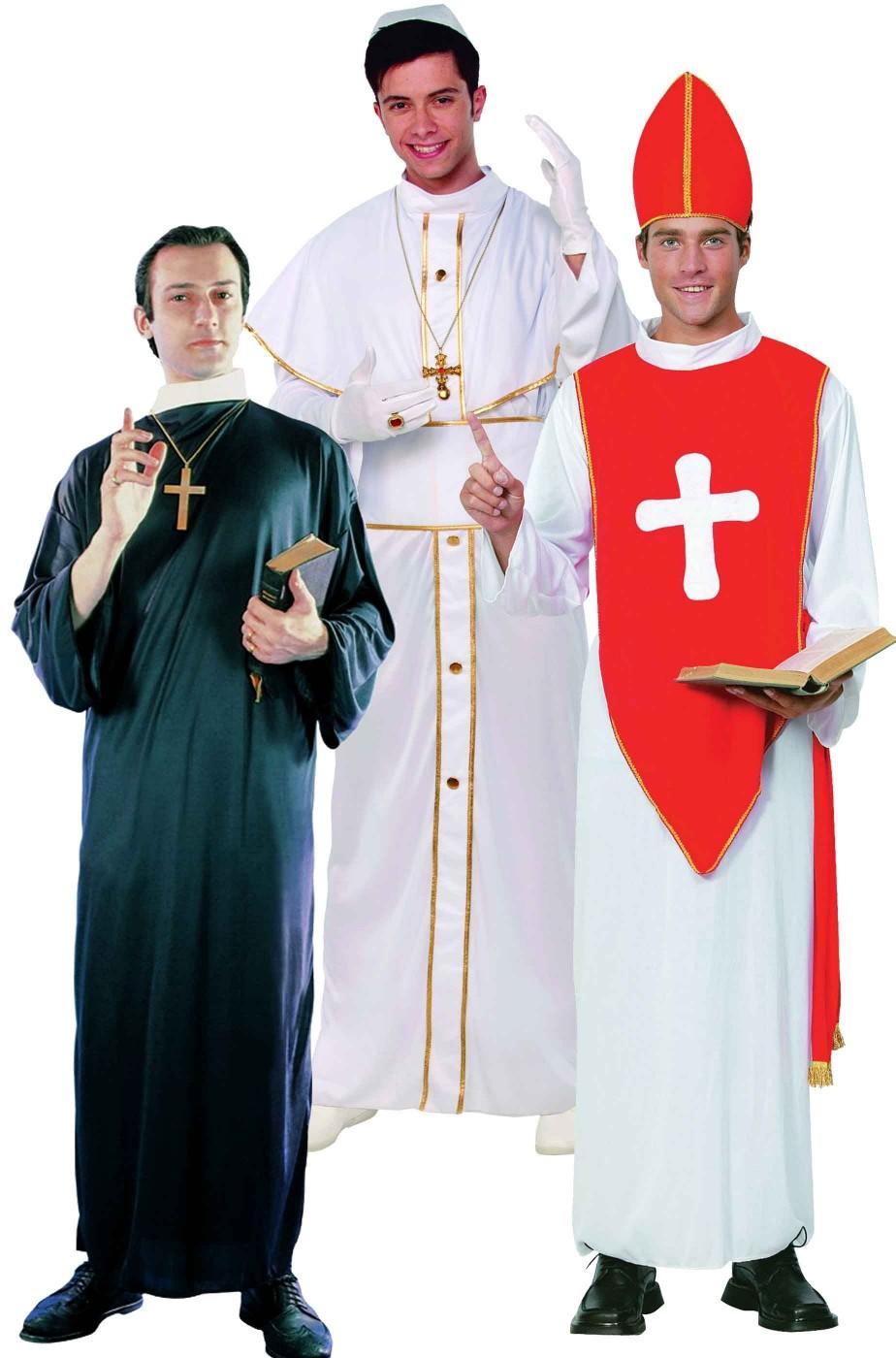 Costumi di carnevale per gruppo da papa prete e cardinale 8e2c8825554