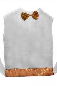 Finta camicia bianca a gilet con farfallino e fascia color oro