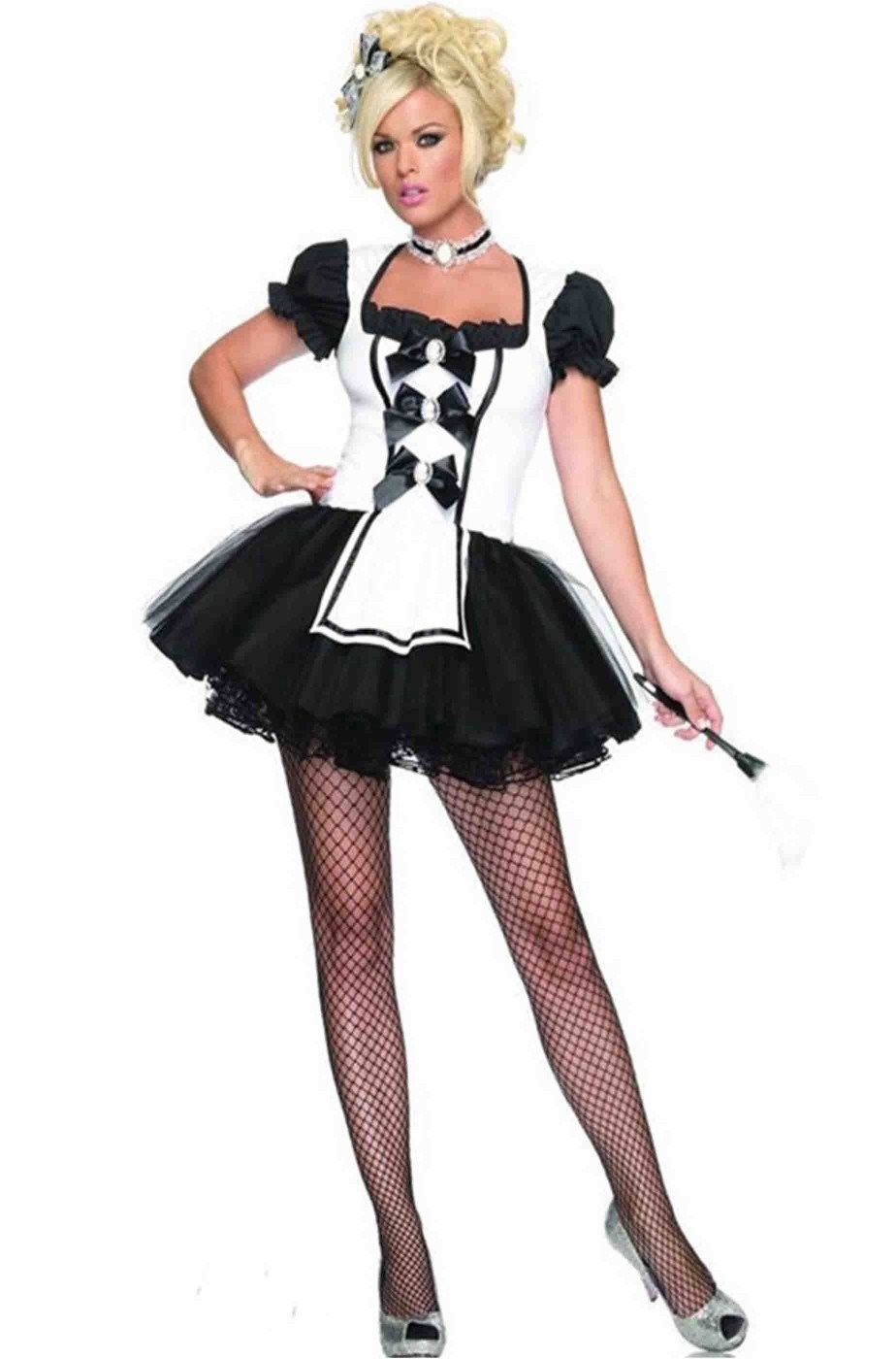 più colori originale più votato vivido e di grande stile Vestito di carnevale da Cameriera con bianco e nero con gonna