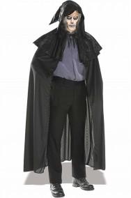 Mantello nero cappa con cappuccio e mantellina a pellegrina