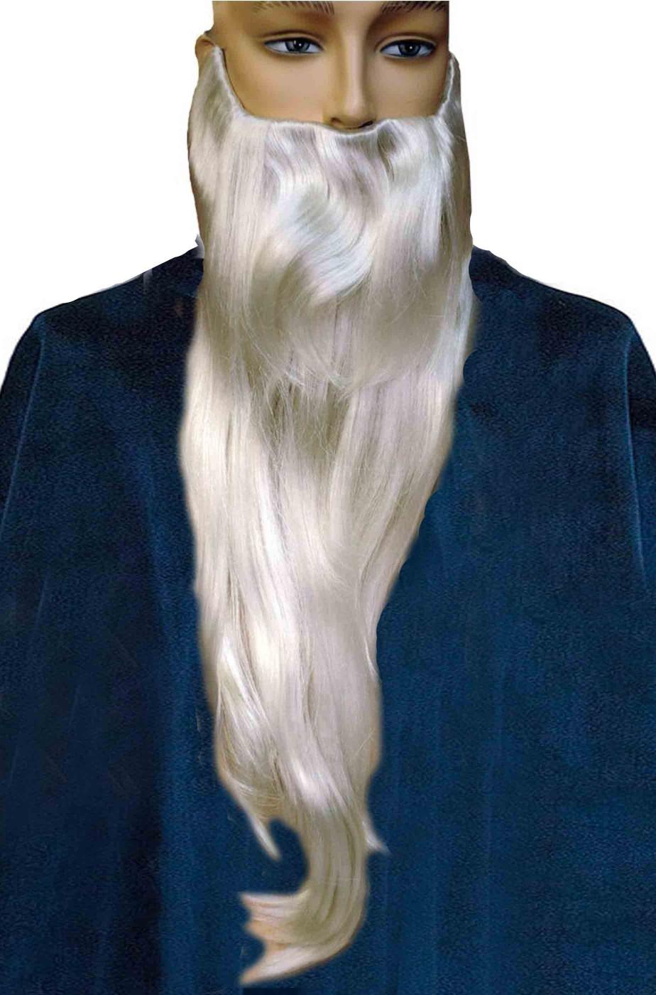 Barba lunga bianca liscia Merlino o Gandalf il bianco