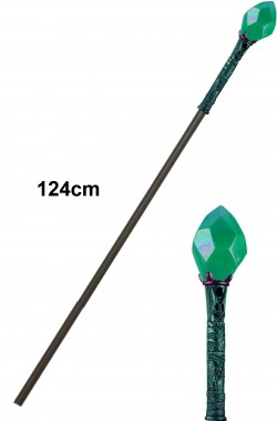 Bastone mago negromante verde in plastica per Saruman cm 120