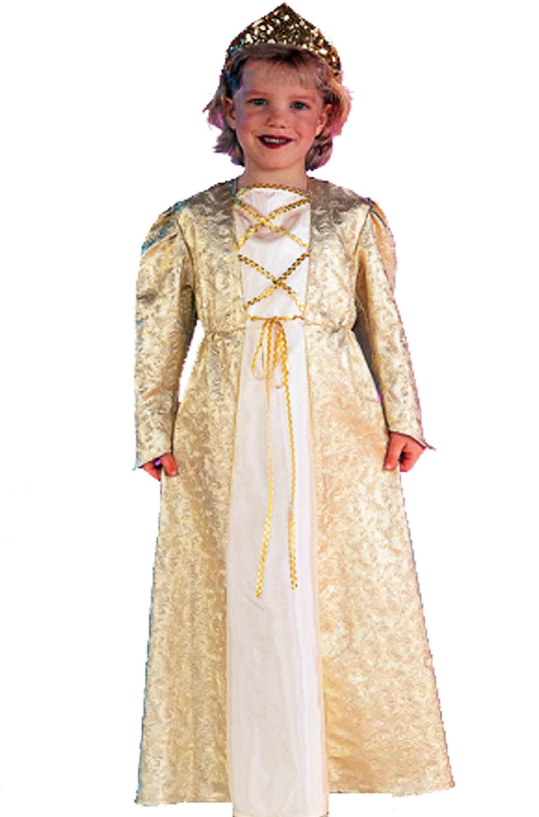 Bambina Carnevale Costume Da D'oro Principessa Di Lungo ybgf76Y
