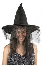 Cappello da adulta strega nero con velo