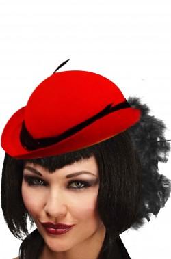 cappello anni 20 charleston rosso con marabou
