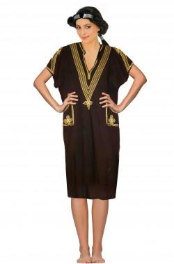Costume donna araba adulta nera con ricamo dorato