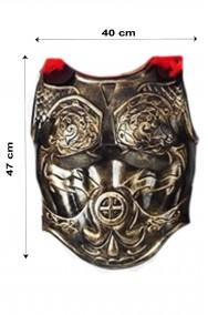 Pettorale armatura antico romano con mantello e marabou color bronzo