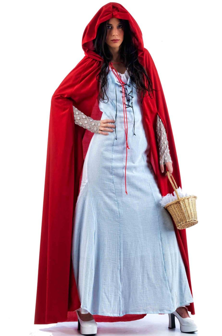 accdcf60ab52 Rosso Donna Lungo Adulto Carnevale Da Costume Di Cappuccetto 1JFKcl