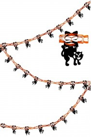 Allestimento Halloween striscione gatti 4 m