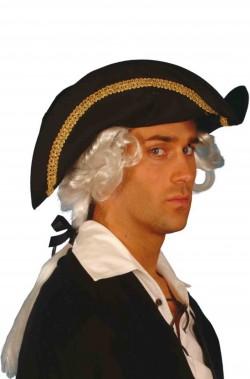 Cappello da pirata a tricorno con capelli