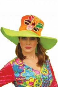 grande cappello anni 70 con fiore per flower power