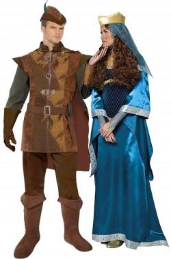 Coppia di Costumi medievali Robin Hood Lady Marion