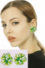 Orecchini verdi millefoglie da elfa, fata, trilli con clip