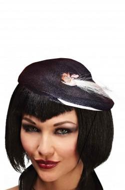 cappello anni 20 charleston nero con piuma