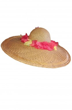 Cappello da donna a larghe falde anni 60 70 in paglia marrone