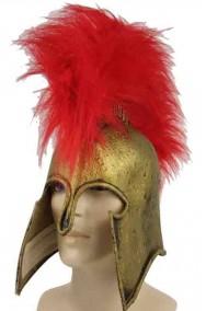 Elmo greco spartano in lattice con chioma foltissima Achille o Leonida
