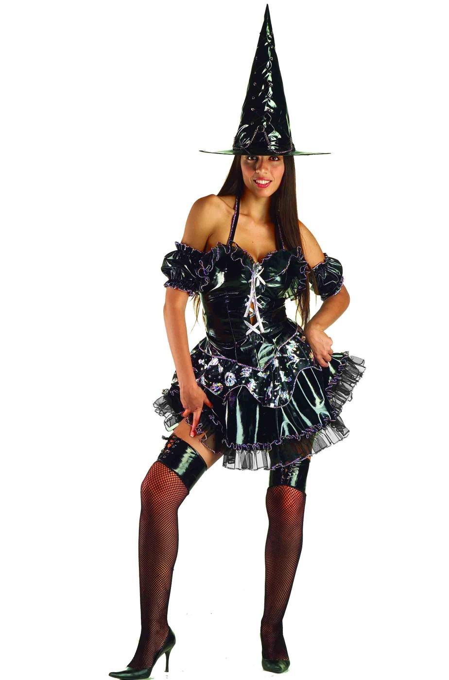 Costume Halloween donna strega nero e argento sexy con cappello 0b4c286cd1cb