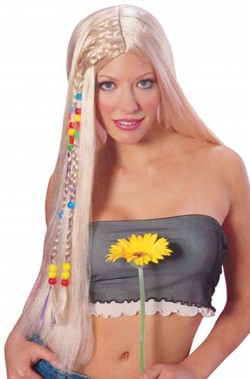 Parrucca bionda con treccine lunga senza frangia anni 70 hippie