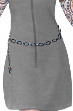 Cintura per anni 70 hippie o flower power azzurra