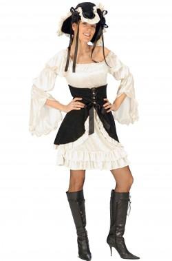 Costume da piratessa bianca e nera con corpetto bcb9efc4888