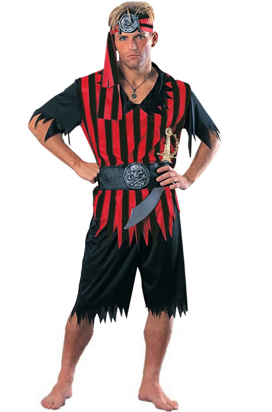 Costume uomo pirata rosso e nero